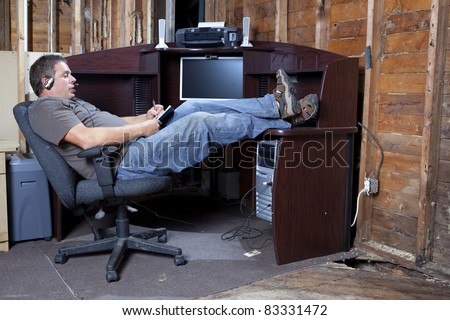 Recession budget office space - stock photo