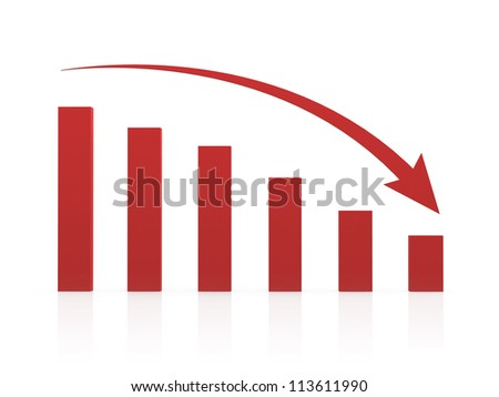 Recession chart and red arrow, isolated on white background. - stock photo