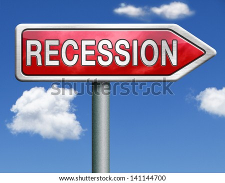 recession crisis bank and stock crash economic and financial bank recession market crash red road sign arrow - stock photo