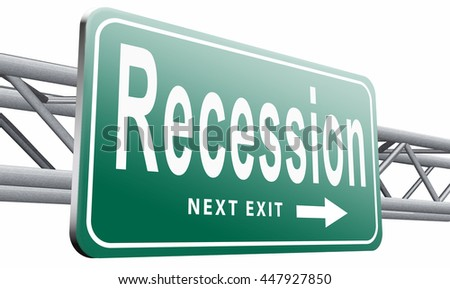 Recession crisis bank and stock crash economic and financial bank recession market crash, road sign billboard, 3D illustration, isolated on white background  - stock photo