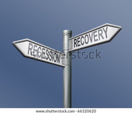 recession recovery road sign arrow on blue background market growth recovering economy stock  crash financial depression economic success or failure