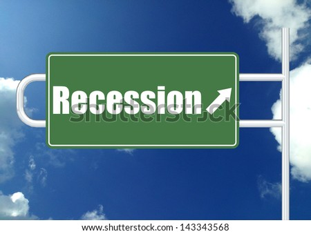 Recession road sign - stock photo
