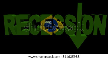 Recession text arrow with Brazilian flag illustration - stock photo