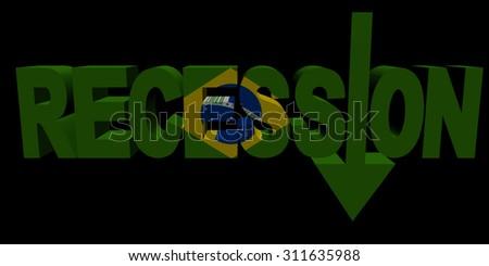 Recession text arrow with Brazilian flag illustration - stock photo