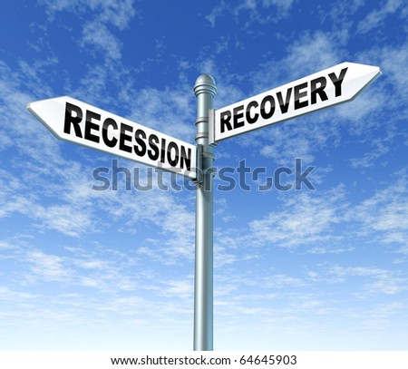 recession vs recovery finance signpost - stock photo