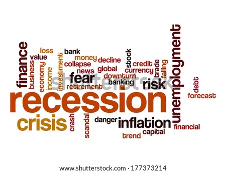 Recession word cloud - stock photo