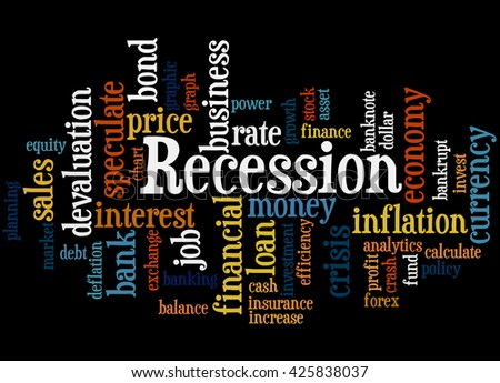 Recession, word cloud concept on white background.