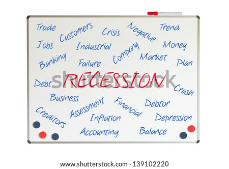 Recession word cloud written on a whiteboard - stock photo