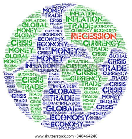 RECESSION. Word collage on white background. Illustration with different association terms.