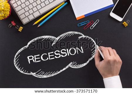 RECESSION written on Chalkboard - stock photo