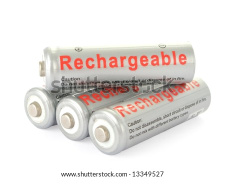 Rechargeable AA batteries isolated on white background