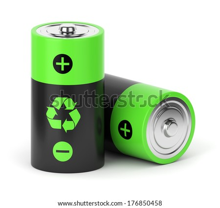 Rechargeable batteries with recycle sign isolated on white background - stock photo