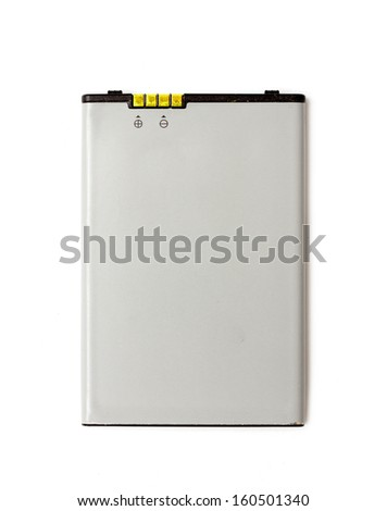 Rechargeable cell phone battery. Isolated on white background - stock photo