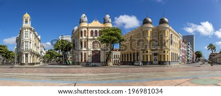 RECIFE, BRAZIL - APRIL 12: Panorama of the architecture of Marco Zero Square in Recife Antigo, PE, Brazil with buildings dated from the 17th century and locals enjoying themselves on April 12, 2014. - stock photo