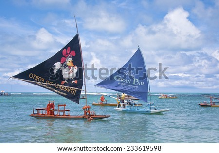 RECIFE, BRAZIL - CIRCA OCT 2013 - Jangadas in Porto de Galinhas. - stock photo