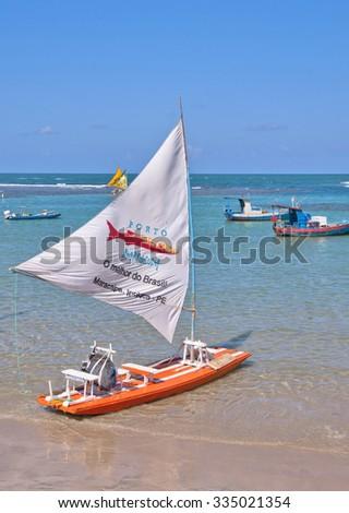 RECIFE, BRAZIL - CIRCA SEPTEMBER 2015 - Jangadas in Porto de Galinhas. The most famous beach of Pernambuco, Brazil - stock photo