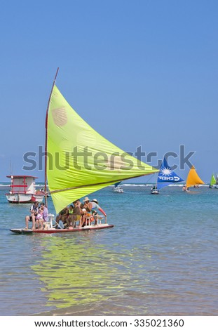 RECIFE, BRAZIL - CIRCA SEPTEMBER 2015 - Jangadas in Porto de Galinhas. The most famous beach of Pernambuco, Brazil - stock photo