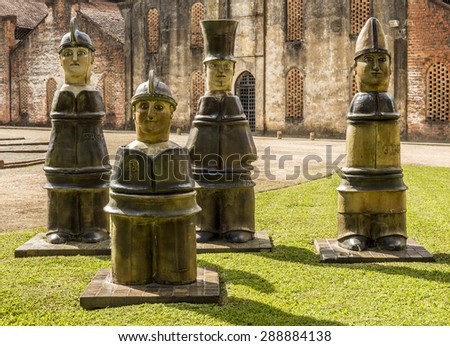 RECIFE, BRAZIL - MAY 5: Francisco Brennand's famous ceramic sculptures at his ceramic factory, atelier, and museum in Recife, Pernambuco, Brazil on May 5, 2015. - stock photo