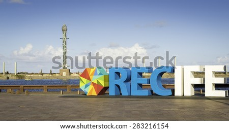 RECIFE, BRAZIL - MAY 5: View of Marco Zero Square in Recife, PE, Brazil showcasing Francisco Brennand's ceramic obelisk on the background and the small monument that marks the start point of the city. - stock photo
