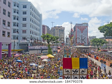 RECIFE - FEBRUARY 28: The Galo da Madrugada is considered the biggest carnival group in the world with over one million people on the streets of Recife. February 28, 2014 in Recife, Brazil. - stock photo