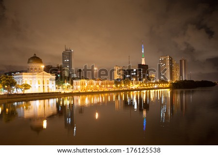 RECIFE, PERNAMBUCO/ BRASIL � 8 FEBRUARY 2014 � Night panorama of the riverside of Recife in Brazil, one of the host cities of the FIFA World Cup 2014.  - stock photo