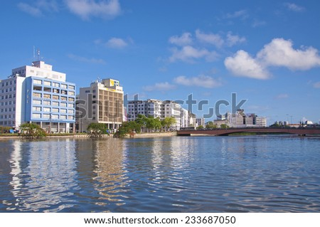 RECIFE, PERNAMBUCO/ BRASIL 11 MAY 2013  View of the Capibaribe River and bridge in Recife, cultural center in northeastern Brazil - stock photo