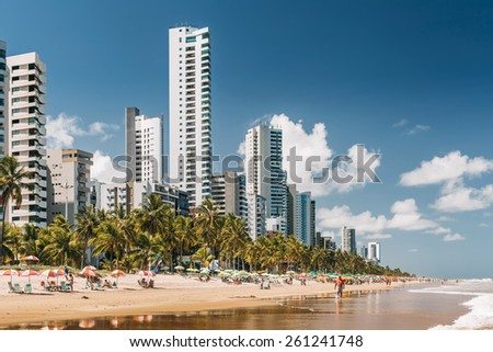 RECIFE, PERNAMBUCO, BRAZIL - MARCH 14: fragment of the Boa Viagem beach with skyscrapers in Recife, Pernambuco region, Brazil on March 14, 2015.