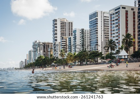 RECIFE, PERNAMBUCO, BRAZIL - MARCH 11: fragment of the Boa Viagem beach with skyscrapers in Recife, Pernambuco region, Brazil on March 11, 2015.