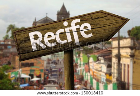 Recife wooden sign, Brazil - stock photo