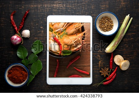 Recipe book fresh herbs south asia stock photo 424338793 shutterstock recipe book with fresh herbs south asia and spices tablet on wooden background thai forumfinder