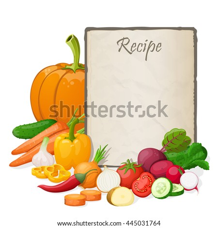 Recipe card. Kitchen note blank template illustration. Cooking notepad on table with and vegetables