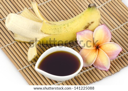 Recipe for skin health mask with banana and honey from nature. - stock photo
