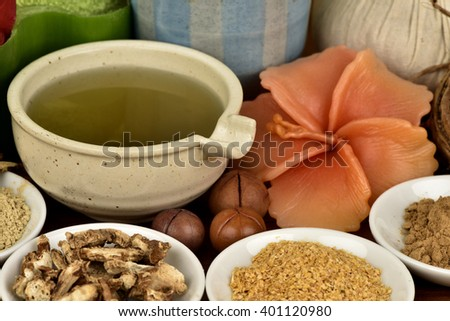 Recipe spa skin: white face , bounce with flowers Crinum Lily gel mixed with Sand Ginger, Glycyrrhiza glabra, Curcuma zanthorrhiza and Wheatgerm, face mask with natural ingredients for healthy skin.  - stock photo