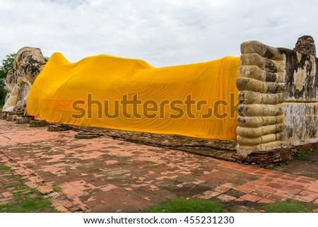 Reclining Buddha at Wat Lokayasutharam, Ayutthaya, Thailand - stock photo