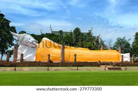 Reclining Buddha, Ayudhaya-Thailand - stock photo