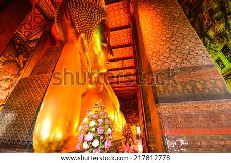 Reclining Buddha in Wat Po, Thailand  - stock photo