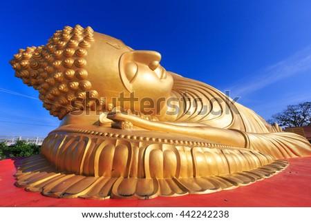 Reclining buddha statue at Wat lampho ,Songkhla,Thailand - stock photo