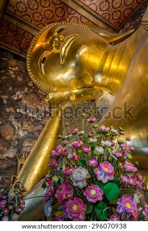 Reclining Buddha, Wat Pho, Bangkok of Thailand. - stock photo