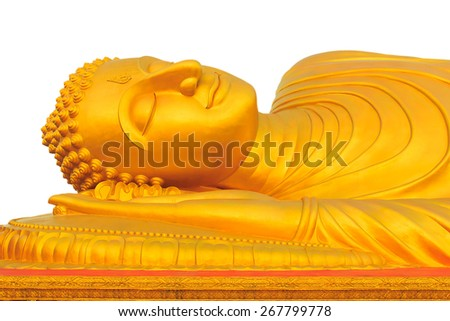 Reclining Golden Buddha at Songkhla province, south of Thailand - stock photo