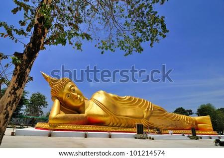 Reclining Golden Buddha, Thailand - stock photo