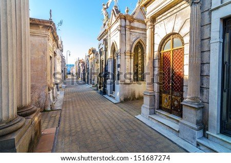 Recoleta Cemetery, the most important and famous cemetery in Argentina - stock photo