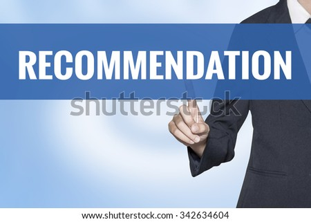 Recommendation word on virtual screen touch by business woman blue background - stock photo