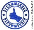 Recommended blue grunge stamp - stock photo