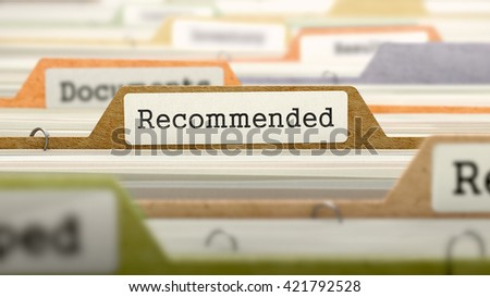 Recommended Concept. Colored Document Folders Sorted for Catalog. Closeup View. Selective Focus. 3D Render.