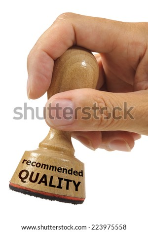 recommended quality marked on rubber stamp - stock photo