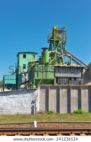 Reconstructed old grain elevator still in operation - stock photo