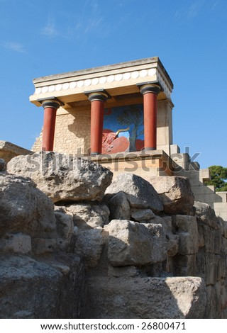 Reconstructed Temple at the Palace of Knossos on the Island of Crete, Greece - stock photo