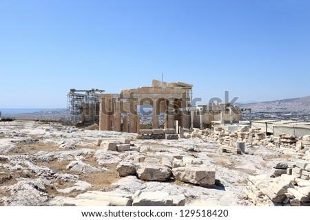 Reconstruction of Parthenon temple on the Athenian Acropolis, Greece - stock photo
