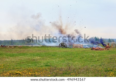 Reconstruction of the battle of World War II. A cannon exsplosion background
