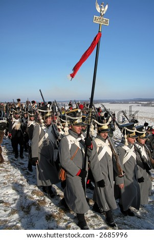"Reconstruction of the 8 February 1807 Napoleon Battle of Preusisch-Eylau (East Prussia),  (Russia, Kaliningrad, village ""Bagrationovsk"" now). February, 11th, 2007"